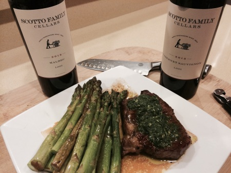 Scotto Family Cellars 2012 Malbec and Cabernet Sauvignon with Roasted Asparagus and Pan Seared New York Strip with Chimichuri