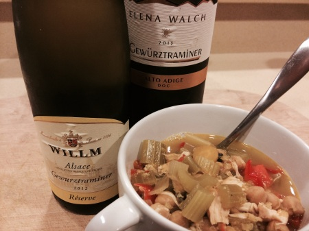 Willm 2012 Gewurztraminer, Elena Walch 2013 Gewurztraminer, and Curry Soup