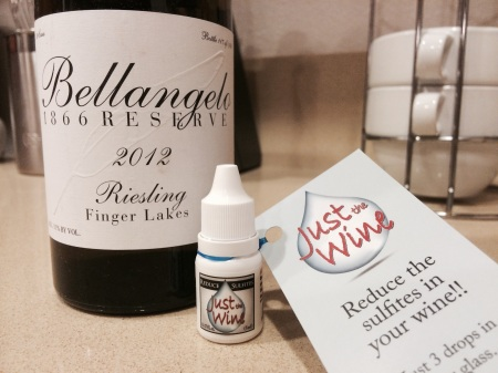 Villa Bellangelo 1866 Reserve 2012 Riesling with Just the Wine sulfite drops
